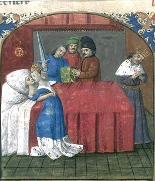 La mort de Tristan et Iseult, miniature du XVe siècle, enluminure de Tristan de Léonois, France, Ahun, XVe siècle, BNF
