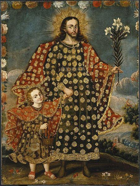 Saint Joseph et l'enfant Jésus, huile peinte entre 1675 and 1800
