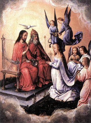 Le couronnement de la Vierge Marie par la Sainte Trinité, Michael Sittow, peint entre 1496 et 1504