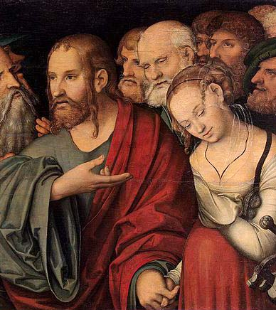Le Christ et la femme prise en flagrant délit d'adultère, tableau de Lucas Cranach le jeune, 1532