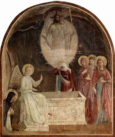 La découverte du tombeau vide, par Fra Angelico, fresque (1437-1446), musée national San Marco, Florence.