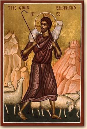 Icône du Bon Berger, anonyme, fin XIXe : « Il y aura plus de joie dans le ciel pour un seul pécheur qui se repent que pour 99 justes, qui n'ont pas besoin de repentir. » (Lc 15, 7)