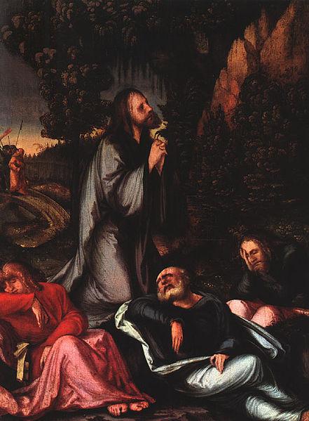 L'Agonie de Jésus au Jardin des Oliviers, quand Il fut saisi par la tristesse et l'angoisse la veille de sa cricifixion