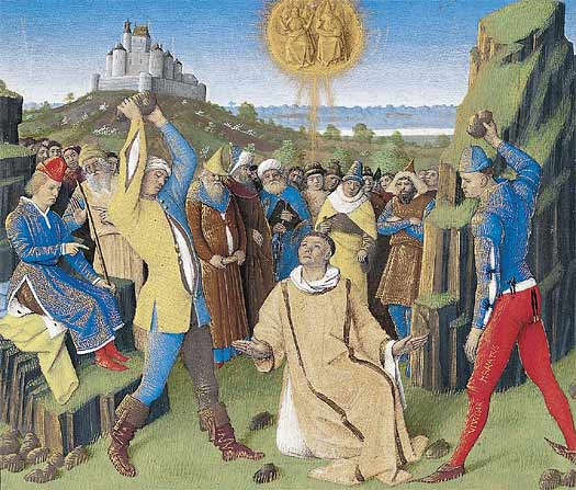 Lapidation de St Étienne, qui, sous l'emprise de l'Esprit Saint, avait dénoncé les péchés de son peuple. - Dessin de J. Fouquet, 1452 -1460