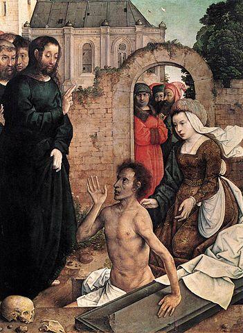 La résurrection de Lazare, tableau de Juan De Flandes, entre 1510 et 1518
