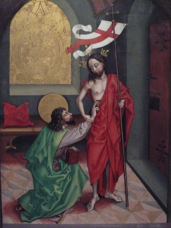Le doute de Thomas, peinture de Martin Schongauer (1450-1491)