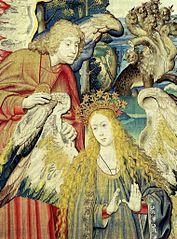 Saint Jean l'évangéliste et la femme de l'Apocalypse, tapisserie de Wilhelm de Pannemaker, mi-XVIe siècle