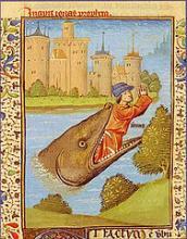 Jonas rejeté par la baleine. Enluminure de la Bible de Jean XXII. École française du XIVe siècle