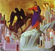 Duccio, La tentation de Jésus sur la montagne
