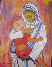 Dessin d'Aguijarro représentant Mère Teresa portant Pepo, un enfant atteint du syndrome de Down